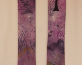 Lent Clerical Stole, Labyrinth and Cross, Hand Dyed, Purple