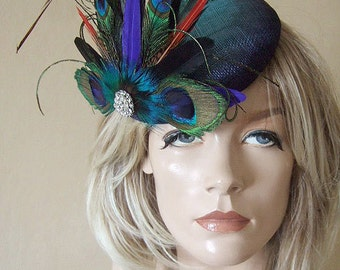 "Peacock Pheasant Cluster & Crystal Brooch Blue Green Large Ombre Button Fascinator ""Galina"" Headpiece Hatinator Hat Mother of the Bride"