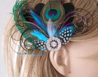 """Bridal Aubergine Purple Turquoise Peacock Feathers Fascinator Hair Clip """"Nenna"""" - 1 Day to Make - Winter Wedding Mother of the Bride"""