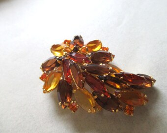 Rhinestone Pin Brooch Fall Splendor Open Backed unsigned vintage costume jewelry fall colors amber orange taupe MoonlightMartini Mad Men