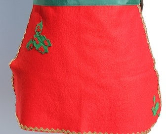 Vintage Mini Christmas Red Felt Apron Half Apron Waist Apron Handmade Holly