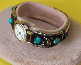 """Vintage NAVAJO STERLING Silver, 6 TURQUOISE Stones, Watch Band, Excellent Condition, 5 5/8"""" Di., Sgnd """"M A D"""" and """"I M"""" - Free Shipping"""