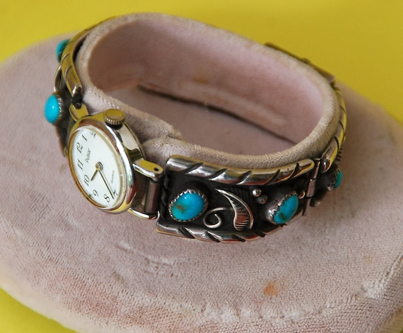"""Reduced: Vintage NAVAJO STERLING Silver, 6 TURQUOISE Stones, Watch Band, Excellent Condition, 5 5/8"""" Di., Sgnd """"M A D"""" and """"I M"""""""