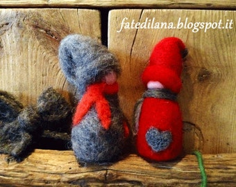 Set of two Gnomes in Red and Grey Needle Felted Wool. Ready to ship.