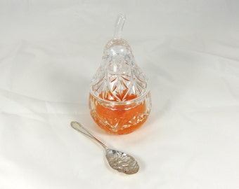 Vintage Glass Preserve Dish with Serving Spoon Pear Shaped Bowl