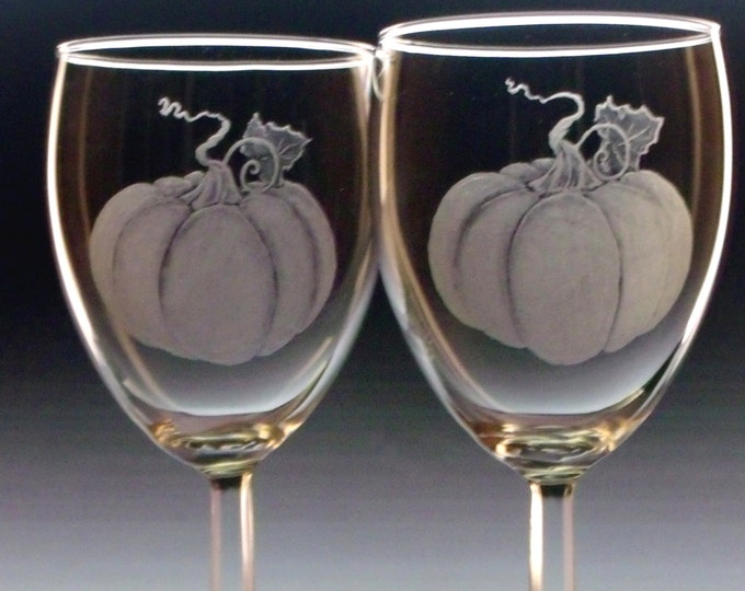Hostess gifts Pumpkin Glasses Thanksgiving table Set of two 10 ounce wine glasses