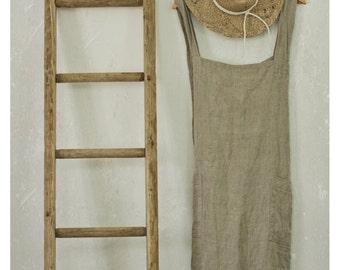 BURLAP LINEN PINAFORE apron /  cross over apron