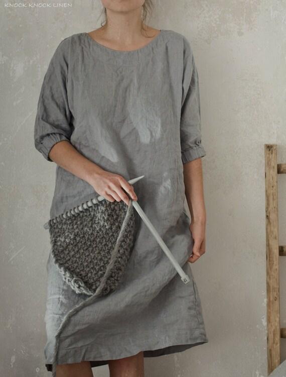 Linen Tunic Dress Smock