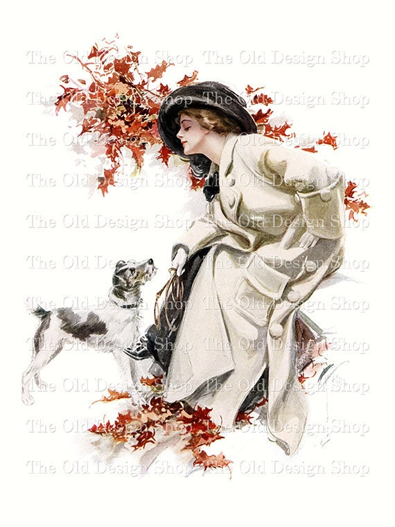 Harrison Fisher Lady Jack Russell Dog Fall Leaves Printable Vintage Arr Digital Download JPG Image