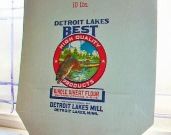 1930s Paper Flour Bag Sack Detroit Lakes Best Flour 10 Pound Bag Vintage Advertising