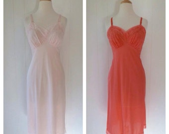 Two Pink Vanity Fair Tricot Nylon Vintage Slips 34 S Pale Pink Bright Pink