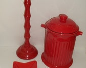 3 Piece LOT of Tomato Red Home Decor, Custom 3 piece Red Home Decor, Red Cookie Jar/Doggie Treat Jar, Red Candlestick, Red Star Ceramic DIsh