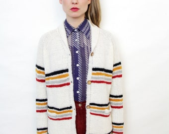 Vintage Handknit Striped Cardigan Sweater