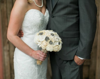 Handmade Wedding Bouquet- Medium Ivory Cream Grey Bridal Bridesmaid Bouquet, Alternative Bouquet, Keepsake Bouquet, Rustic Wedding