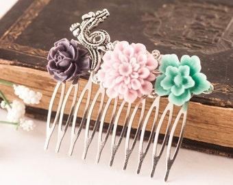 Hair Comb - Flower Hair Comb - Shabby Chic Hair Comb - Bridal Hair Comb - Gift For Her - Wedding - Bride - Floral Comb - Hair Pin, Rose Comb