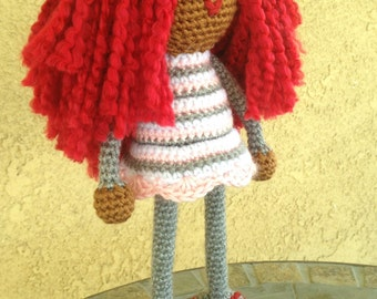 Valentine Crochet African Doll, Plush Red Redhead Locks Dreads Natural Hair Black white pink gray Stuffed Toy Baby Girl Gift MADE TO ORDER