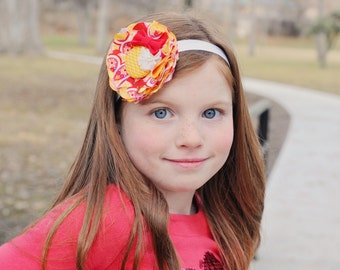 Tausha - Red,Yellow & White Color Themed Fabric Flower Headband