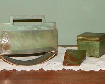 Heintz 4 pc set Sterling Silver Over Bronze DESK SET Letter Holder Ink Well Paper Clip Blotter Arts Craft