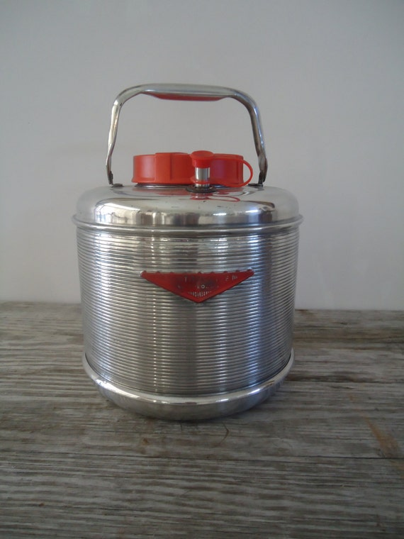 Aluminum Water Cooler Picnic Jug Vintage 1950s  Featherflite by Poloron USA Great Gift For Him