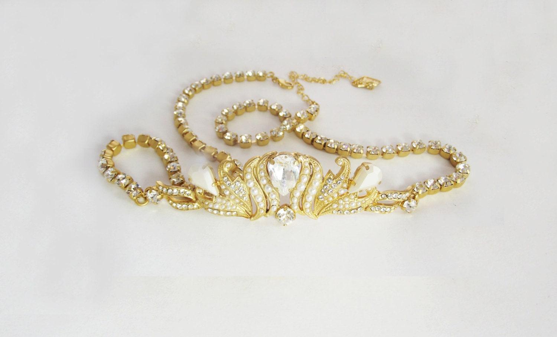 Bridal wedding sash gold crystal bride dress belt pearl and for Gold belt for wedding dress