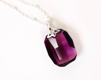 Amethyst necklace , Purple Crystal necklace , Geometrical Sterling Silver Purple Necklace