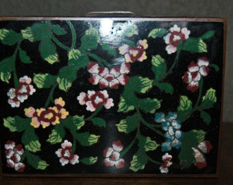 Antique 19th century black Chinese Cloisonné' Covered Footed Metal Box Hinged Flower Design.