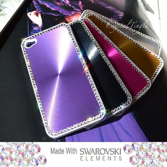 Shinning Aluminum Metallic Back Covet Case For iPhone 6 Silver Purple Black Red Green Made w/ Swarovski Diamond Crystals