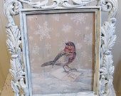 Winter White Holiday Bird Print Vintage Inspired Winter Decor Christmas Decoration Holiday Decor Let It Snow Ornate Frame Bird Painting