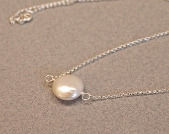 Coin Pearl Pendant, Simple Sterling Silver Freshwater Pearl Necklace, Bridesmaid Gift, June Birthday Necklace