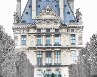 Paris Photography - The Louvre in Winter, Fine Art Photography Print, Neutral French Home Decor, Large Wall Art