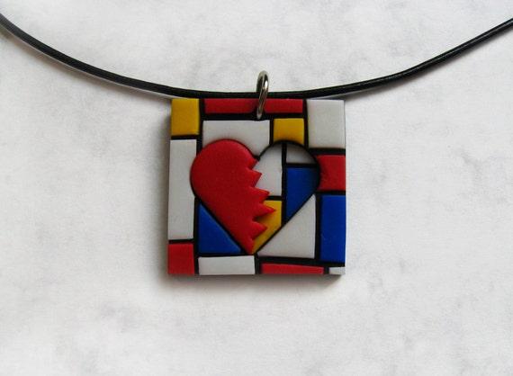 Heartbroken polymer clay pendant, Mondrian style