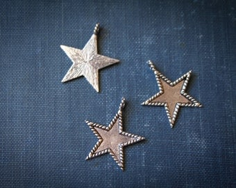 50% off 12 Silver Star pendant charm for necklaces