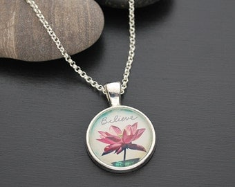 Lotus Pendant Necklace Believe Inspirational Jewelry FREE Shipping