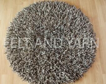 OnSale 50% Off Felt natural round shag rug, handmade felt rug, felt rug, luxurious felt ball rug