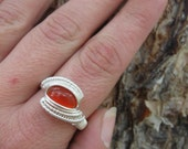Size 9 Wire Wrapped Carnelian Ring in Sterling Silver