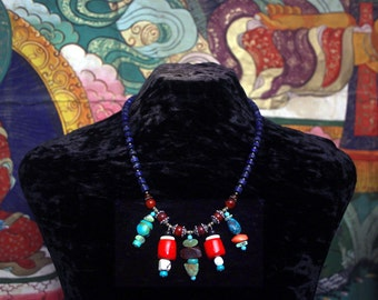 Lapis Lazuli Necklace, Gemstone Dangles, Pendant Necklace, Boho, Ethnic, Tribal Necklace, African, Moroccan, Statement Necklace