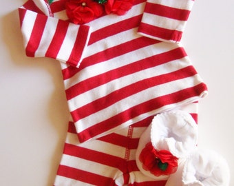 Newborn Baby Girl Candy Cane Complete Christmas Outfit, Baby Girl Santa Outfit, Newborn Baby Girl First Christmas, Red White Green Pants Set