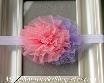 Pink and Lavender Baby Girl Headband - Double Flower Ruched Mesh Hair Bow for Newborns, Toddlers and Girls