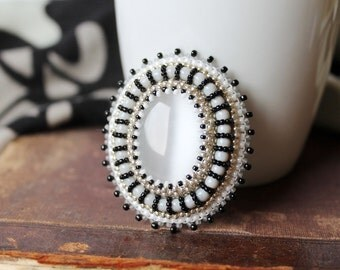 Embroidery Brooch Bead embroidered Brooch Beadwork Brooch White Grey Black Brooch Cabochon Brooch CatsEye Brooch White Jewelry MADE TO ORDER