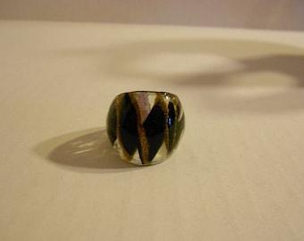 Black Glass Elegant Ring