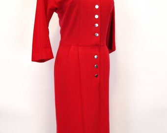 Vintage red 50s 60s button up wool wiggle Madmen dress size S