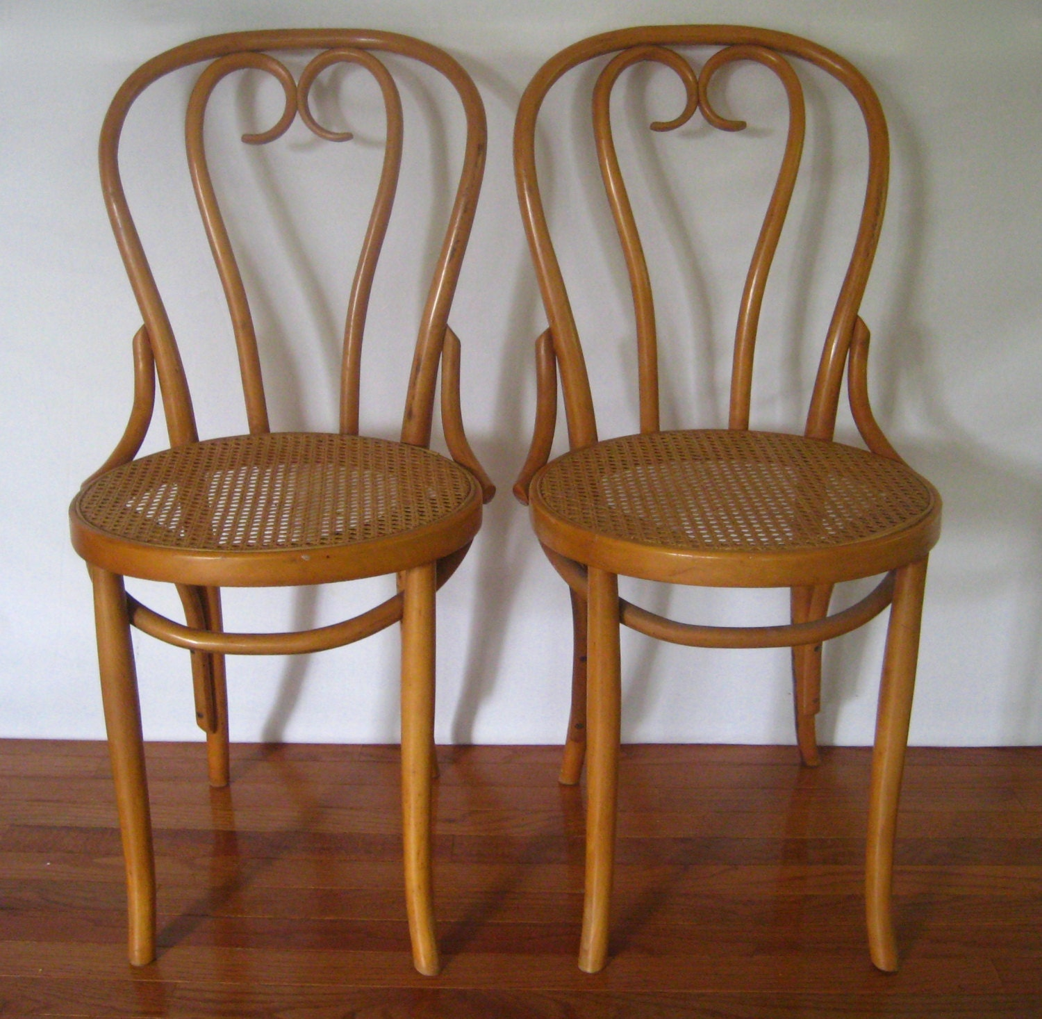 Reserved for shauna 2 vintage bentwood cane seat cafe bistro - Cane bistro chairs ...
