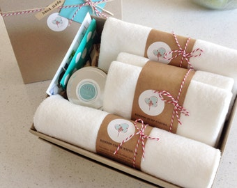 New Baby Gift Box - My most popular organic bamboo baby items in a gorgeous gift box!