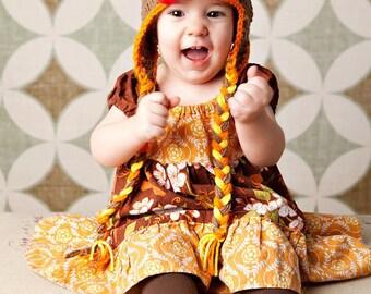 Instant Download PDF Crochet Pattern - No. 2 Baby Thanksgiving Turkey Ear Flap Hat - 5 Sizes