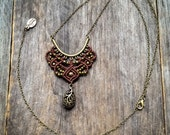 Boho Macrame necklace pendant long chain bohemian jewelry by Creations Mariposa