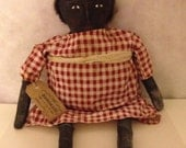 Primitive Black Folk Art Doll, Grungy Pinch Stitched Face,  Whimsical, HAFAIR, Artful Zeal