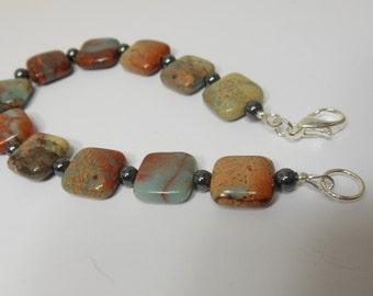 Serpentine Stone, Serpentine Bracelet, stone bracelet, red and green stone bracelet