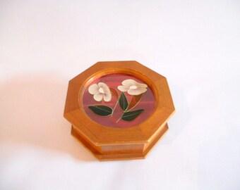 Vintage Jewelry Box Wooden Mele Pink Velvet Interior Octagaonal  Mid Century Wood Jewelry Storage