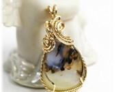 Sale / Agate Jewelry / Montana Agate / 14K Gold Filled / Montana Agate Pendant