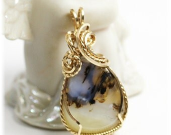 Sale / Agate Jewelry / Montana Agate / 14K Gold Filled / Montana Agate Pendant